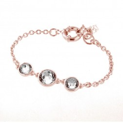 Bracelet gourmette tendance pour femme en plaqué or rose, cristal de Swarovski - Trystel