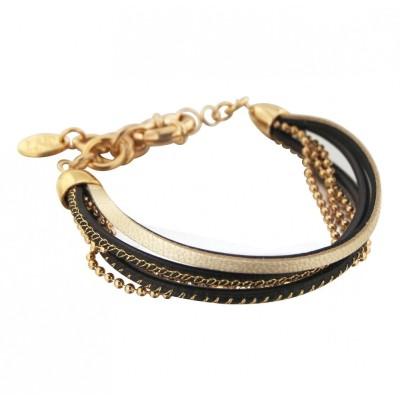 Bracelet gourmette pour femme en plaqué or et cuir noir, Gynko