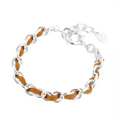 Bracelet gourmette tendance pour femme en argent et cuir beige Louise Zoé Bijoux - Double Entrelacs