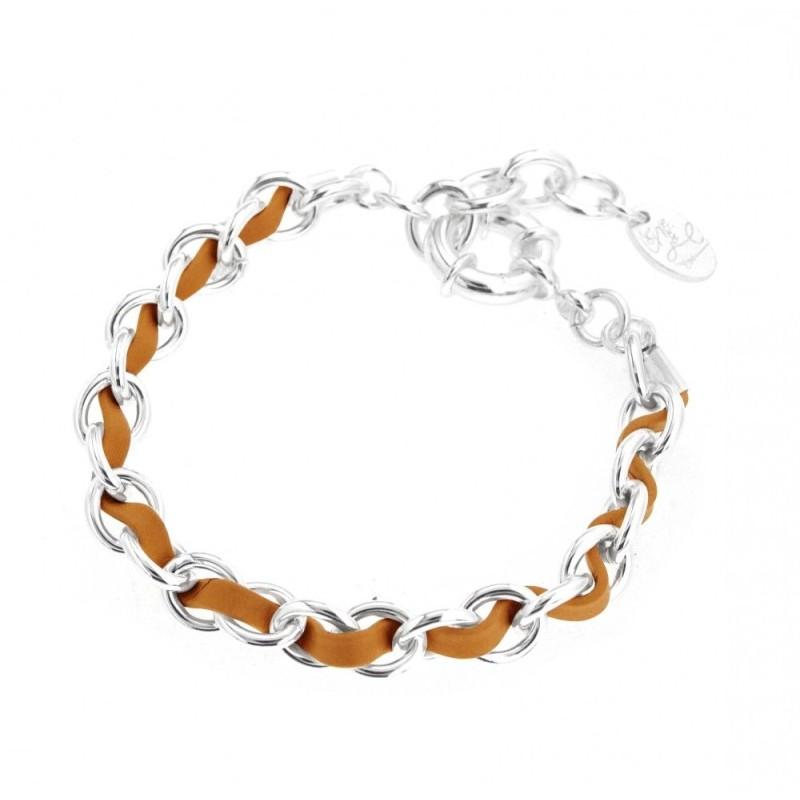 Bracelet pour femme en argent et cuir beige, Double Entrelacs