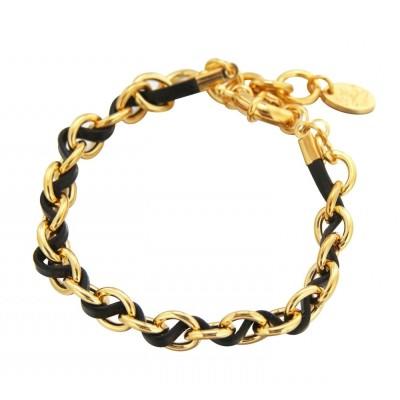 Bracelet gourmette tendance pour femme plaqué or et cuir noir Louise Zoé Bijoux, Double Entrelacs