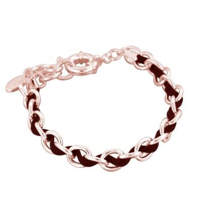 Bracelet femme en plaqué or rose et cuir noir, Double Entrelacs