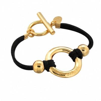 Bracelet pour femme en plaqué or suédine noire, Cercle Griffé