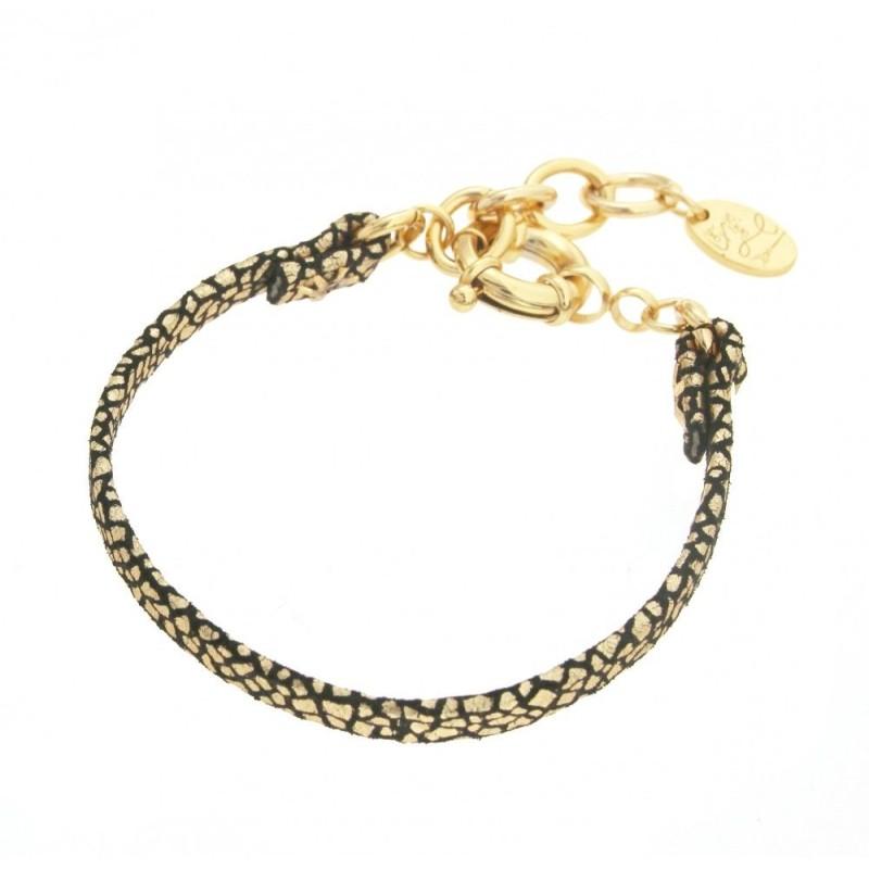 Bracelet pour femme en plaqué or et cuir noir craquelé, Manca