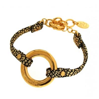 Bracelet gourmette tendance pour femme en plaqué or et cuir noir craquelé Louise Zoé Bijoux - Cercle Griffé
