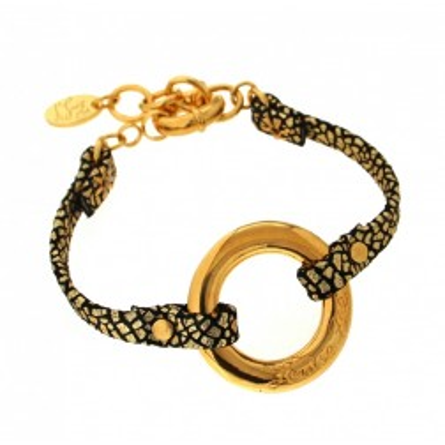 Bracelet femme en plaqué or et cuir noir craquelé, Cercle Griffé