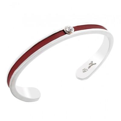 Bracelet jonc argent, cuir rouge et Swarovski pour femme - Badya - Lyn&Or Bijoux
