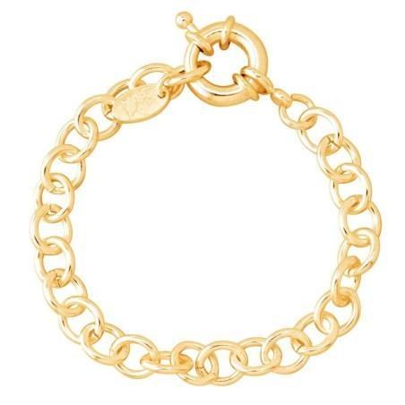 Bracelet gourmette tendance pour femme plaqué or, Gourmette charms