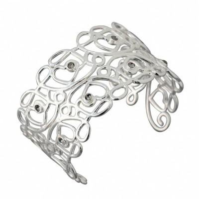 Bracelet Jonc tendance femme argent et cristal de Swarovski noir, Reine