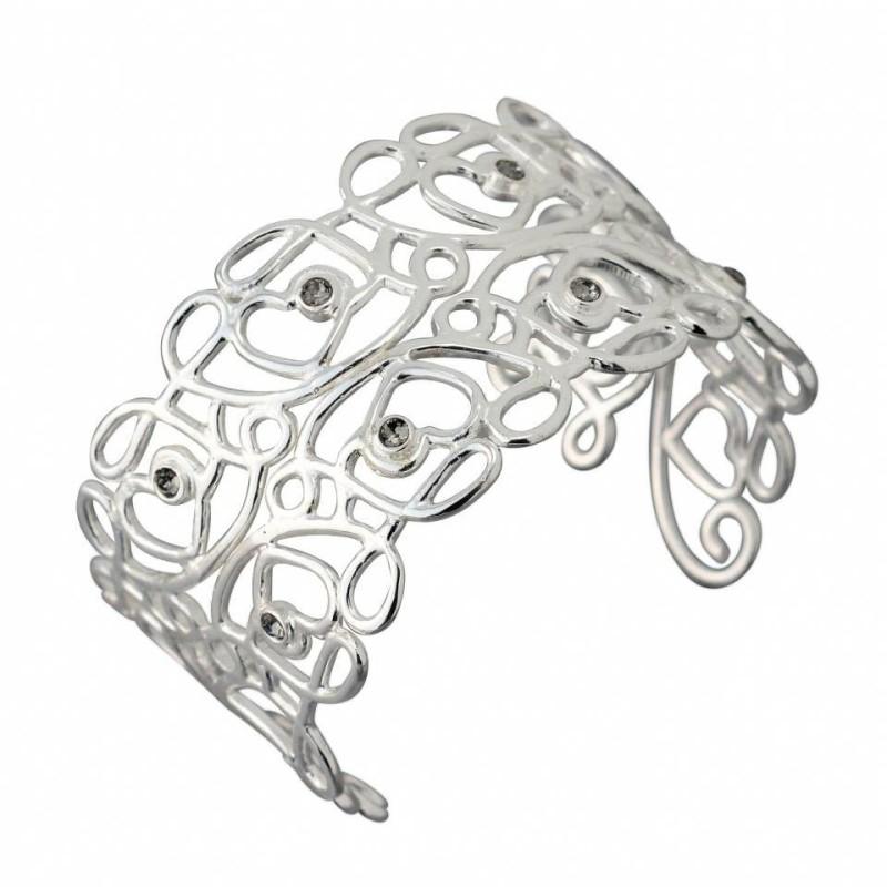 Bracelet manchette en argent et cristal noir pour femme - Reine - Lyn&Or Bijoux