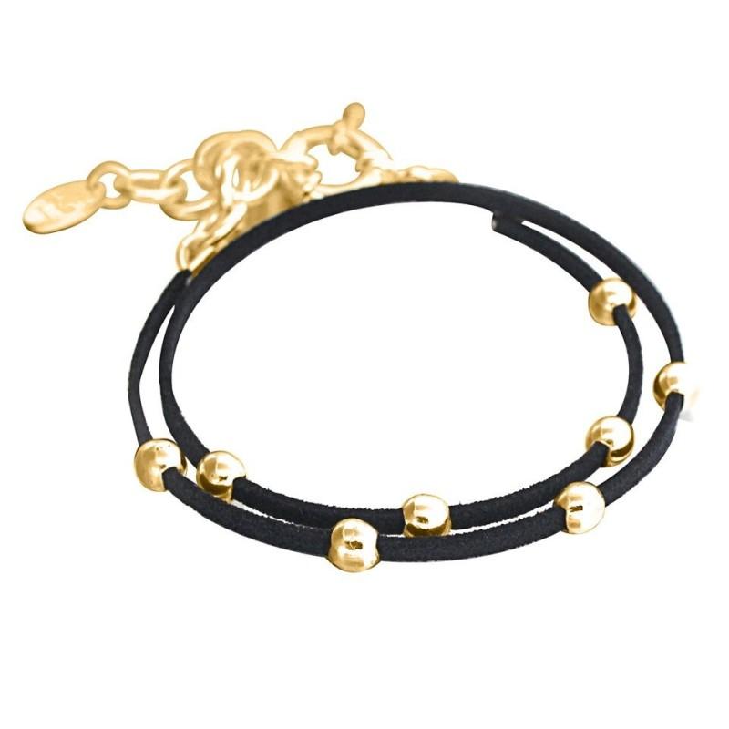 Bracelet pour femme en plaqué or et suédine noire, Double Univers