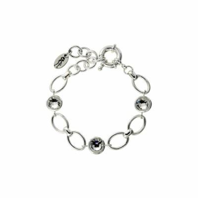 Bracelet gourmette tendance pour femme argent et cristaux de Swarovski®, Banji