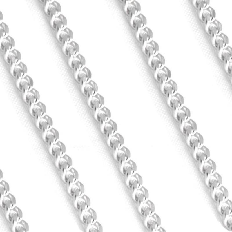 Chaîne argent pour homme 60 cm - Gourmette limée 4 mm - Lyn&Or Bijoux