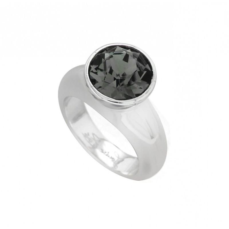 bague tendance argent, cristal de Swarovski® noir LZB, Solitaire