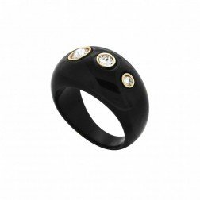 Bague Gaudron noire, dorée, Swarovski LZB pour femme - Shangaï - Lyn&Or Bijoux