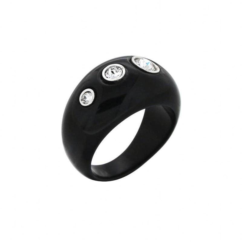 Bague tendance noire en argent, cristal de Swarovski®, Shangai
