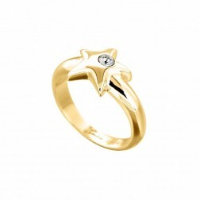 bague de fiancaille swarovski, plaqué or et étoile dorée - Bague femme