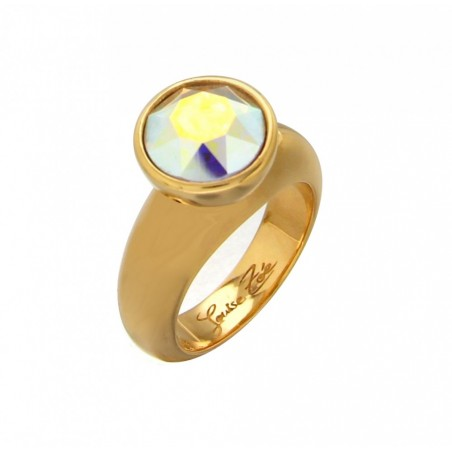 bague tendance en plaqué or et cristal de Swarovski solitaire
