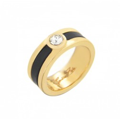 Bague plaqué or, cristal de Swarovski® Louise Zoé, Chanko noir
