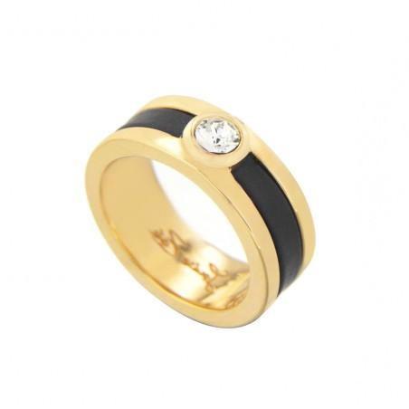 Bague plaqué or, cristal de Swarovski® Louise Zoé Bijoux, Chanko noir