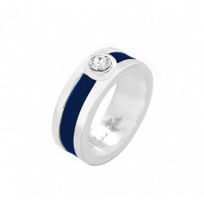 Bague en argent et cuir Zoé Bijoux pour femme - Chanko bleu