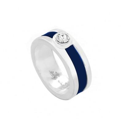 Bague créateur femme en argent, Swarovski et cuir bleu - Chanko - Lyn&Or Bijoux