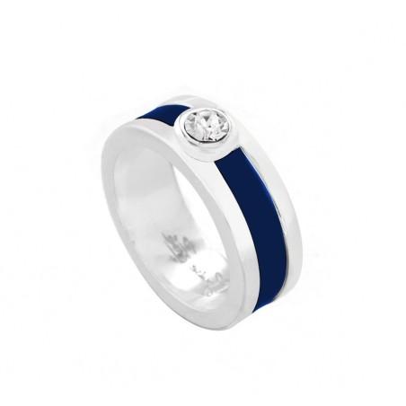 Bague en argent et cuir Zoé Bijoux - Chanko bleu