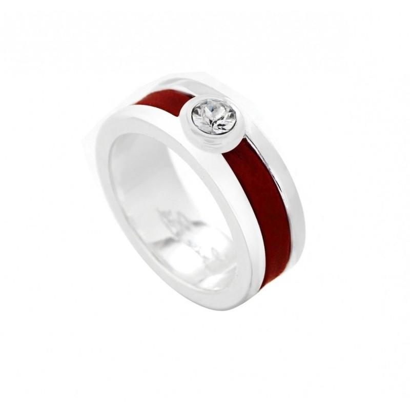 Bague créateur femme en argent, Swarovski et cuir rouge - Chanko - Lyn&Or Bijoux