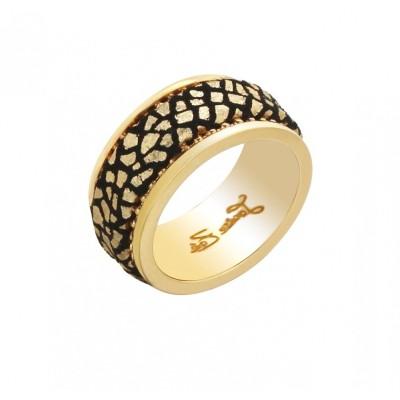 Bague en plaqué or et cuir Zoé Bijoux - Nina
