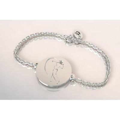 Bracelet créateur original mixte golfeur stylisé en argent