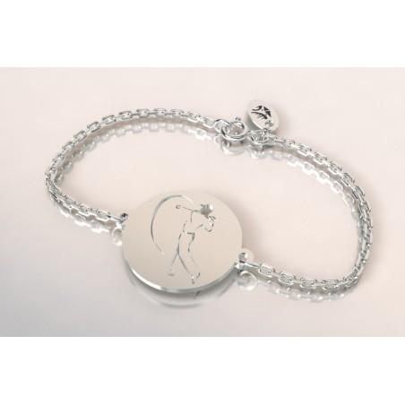 Bracelet créateur original mixte golfeur stylisé argent