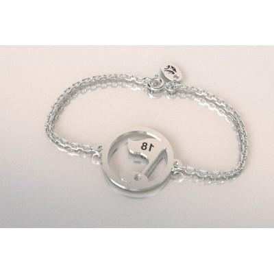 Bracelet créateur original drapeau 18 en argent 925
