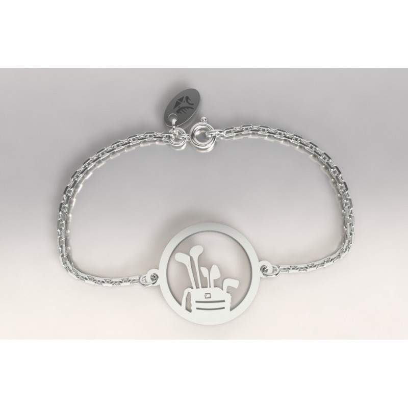 Bracelet créateur original sac de golf et clubs en argent