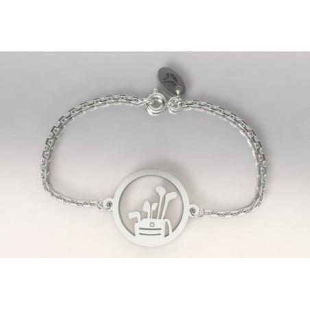 Bracelet créateur original mixte sac de golf et clubs argent