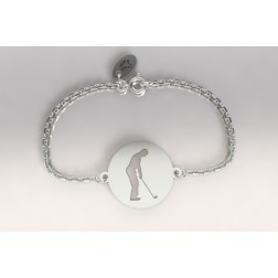 Bracelet créateur original golfeur à l'adresse en argent