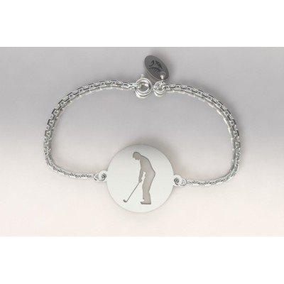 Bracelet créateur en argent pour femme - Golfeur à l'adresse - Lyn&Or Bijoux