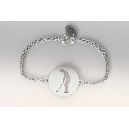 Bracelet créateur original mixte golfeur à l'adresse argent
