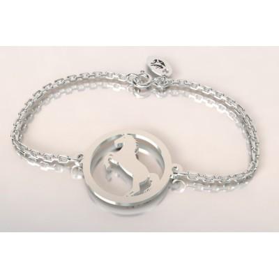 Bracelet de créateur en argent pour femme - Cheval cabré - Lyn&Or Bijoux