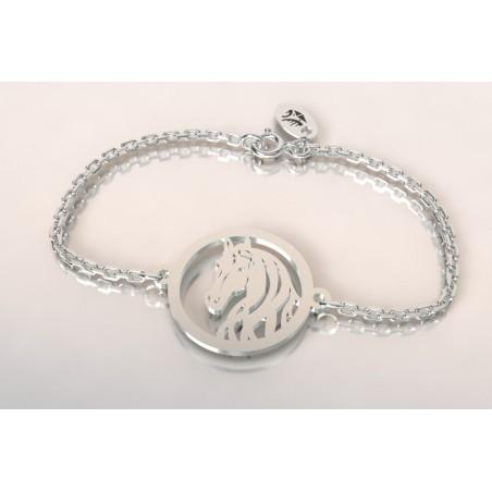 Bracelet créateur original mixte tête de cheval argent