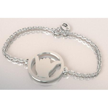 Bracelet créateur original mixte Shaka surf argent