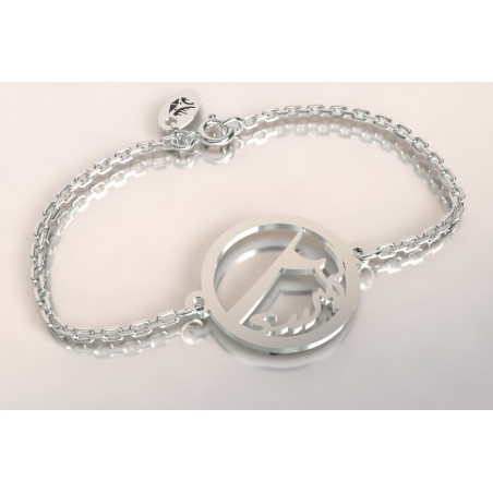 Bracelet créateur original mixte vague de surf surf argent