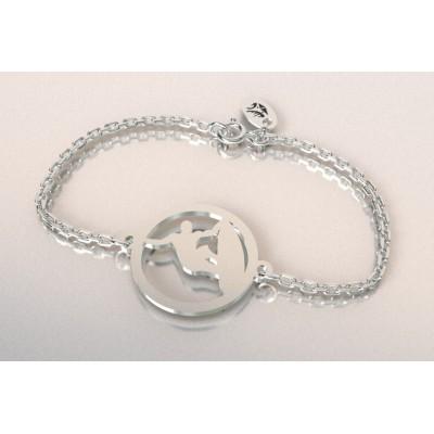 Bracelet créateur original pour femme et homme Surfeur en argent