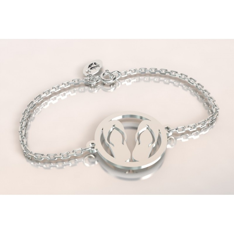 Bracelet créateur pour femme et homme Paire de tongues en argent