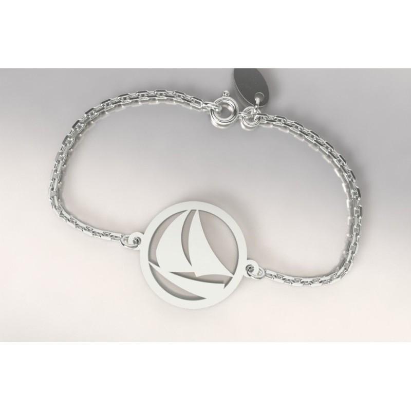 Bracelet créateur original femme et homme voilier - bateau argent
