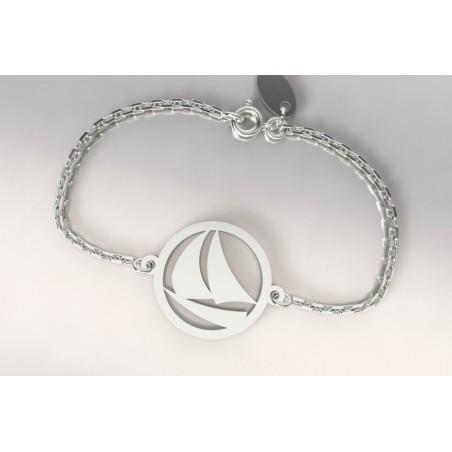 Bracelet créateur original femme et homme voilier, bateau argent