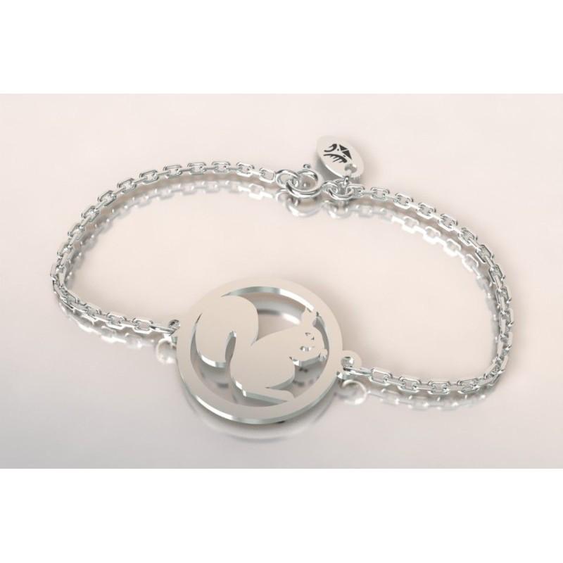 Bracelet créateur original pour femme et homme écureuil en argent