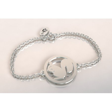 Bracelet créateur original femme et homme écureuil argent