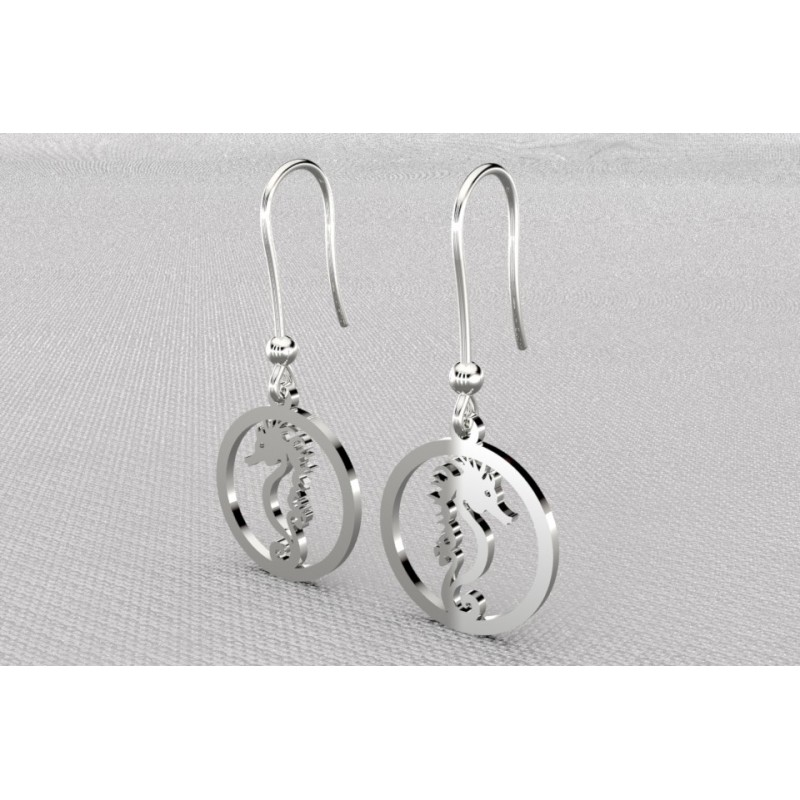 Boucles d'oreilles pendantes Hippocampe pour femme en argent