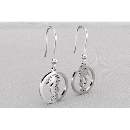 Boucles d'oreilles pendantes pour femme argent, Hippocampes