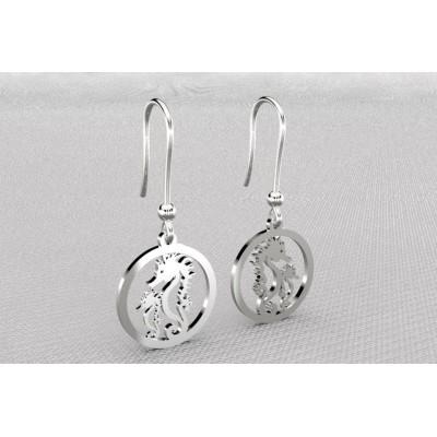 Boucles d'oreille créateur argent pour femme - 2 Hippocampes - Lyn&Or Bijoux